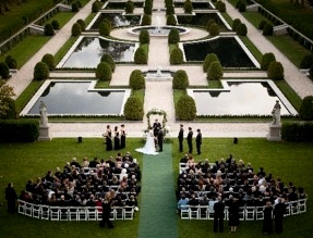 Outdoor Ceremony Overlooking the Formal Gardens of Oheka Castle