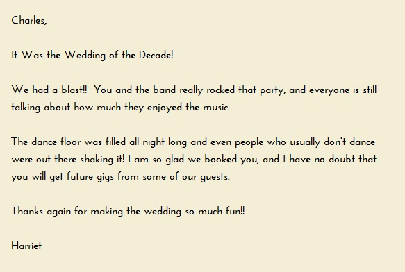 Letter from Mother of the Bride