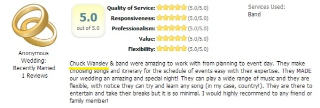 5 Star Review of The Chuck Wansley Band