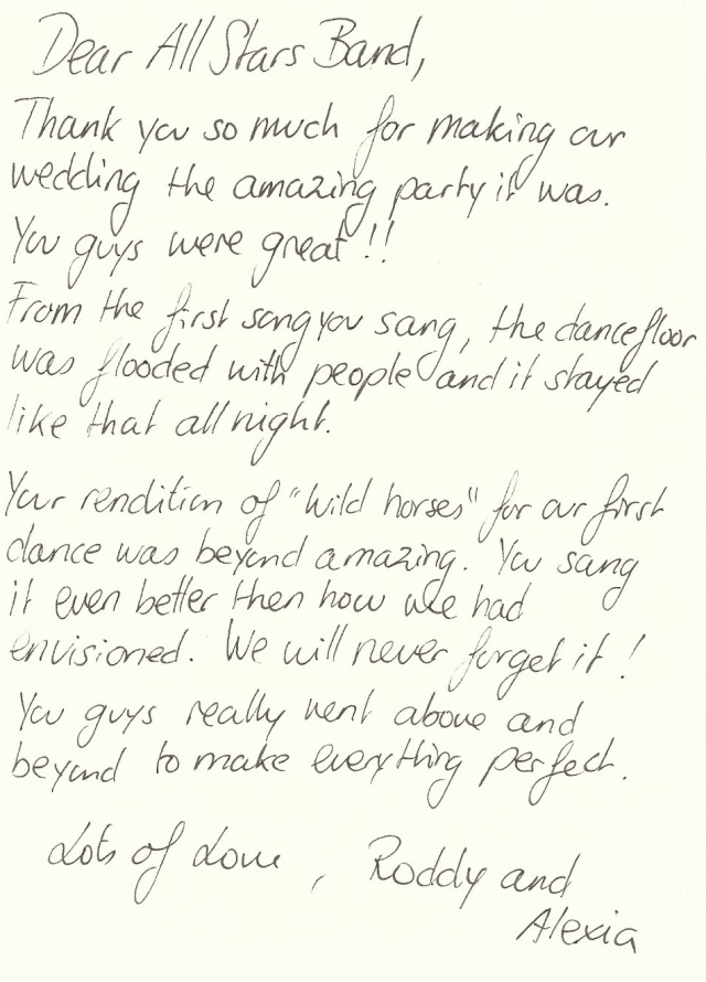 A Note From The Bride & Groom