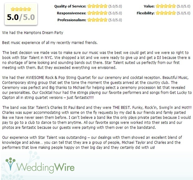 5 Star WeddingWire.com Online Review