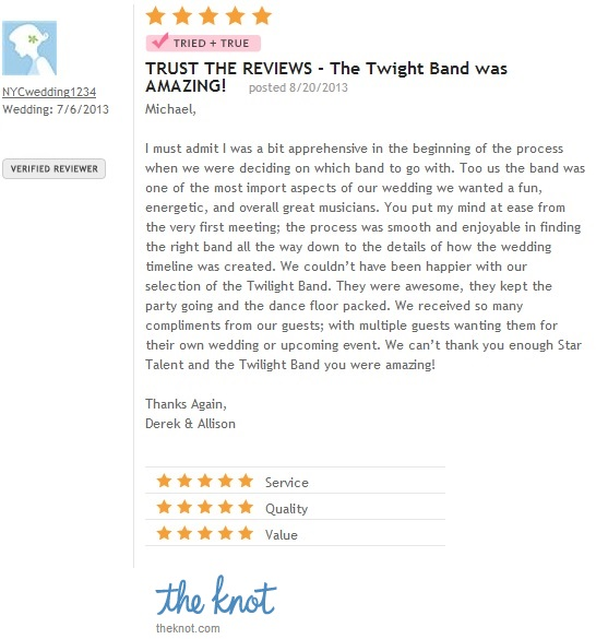 Twilight Band 5 Star Band Review on The Knot.com