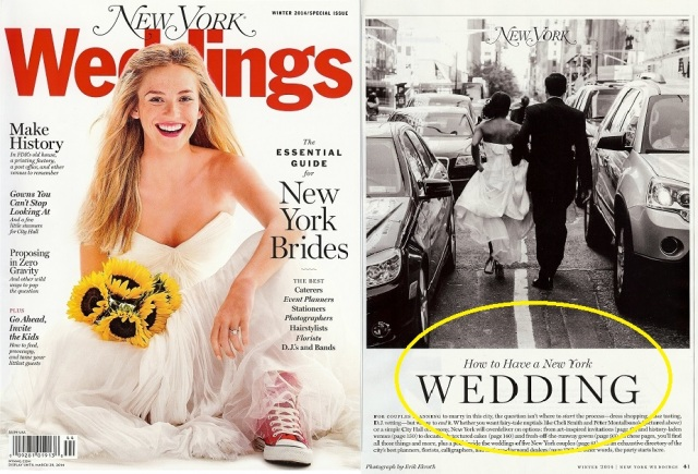 New York Magazine Weddings Issue Winter 2014 ~ Featuring Cheli and Peter