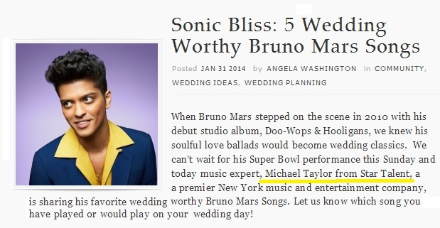 Superbowl HalfTime Show Bruno Mars has 5 Favorite Wedding Songs